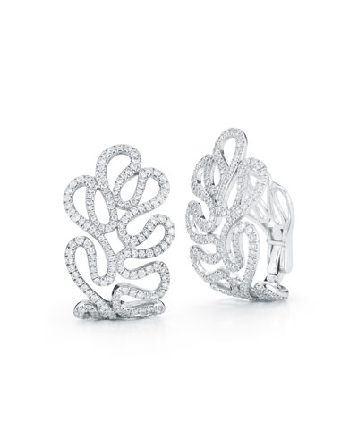 18k White Gold Sea Leaf Diamond Huggie Earrings