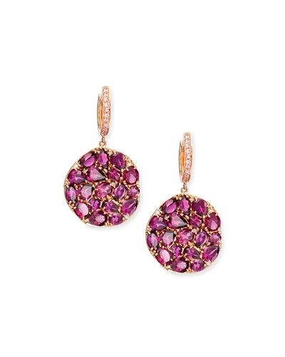 Rhodolite Round Wavy Drop Earrings