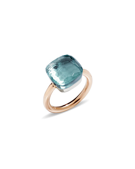 Pomellato Nudo Faceted Blue Topaz Ring, Size 53