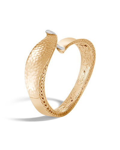 Classic Chain 18k Gold Wave Hinge Bangle w/ Diamonds, Size M