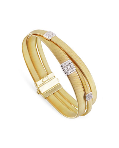 Masai 18K Yellow Gold Three-Strand Bracelet with Diamond Stations