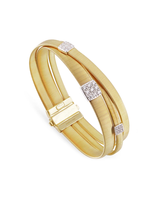 MARCO BICEGO MASAI 18K YELLOW GOLD THREE-STRAND BRACELET WITH DIAMOND STATIONS