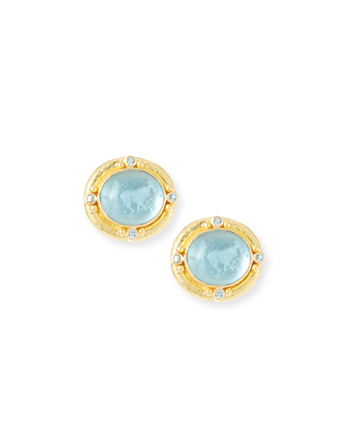 ELIZABETH LOCKE 19K GOLD GOAT, LION & PUTTO INTAGLIO STUD EARRINGS