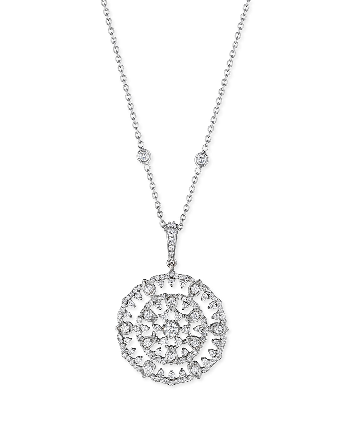 PENNY PREVILLE 18K White Gold Round Diamond Garland Pendant Necklace