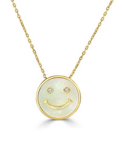 18k Diamond Smile Face Pendant Necklace