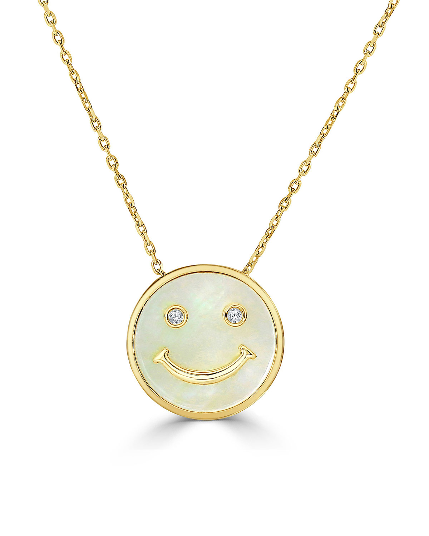 FREDERIC SAGE 18K DIAMOND SMILE FACE PENDANT NECKLACE