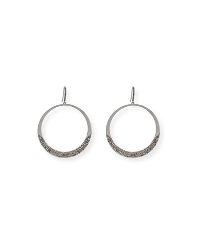 14K Black Gold Reckless Eclipse Hoop Earrings with Black Diamonds