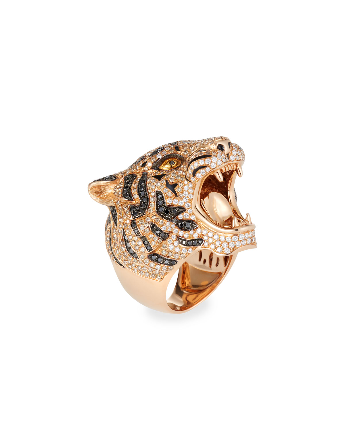 18K ROSE GOLD DIAMOND PAVE TIGER RING, SIZE 7