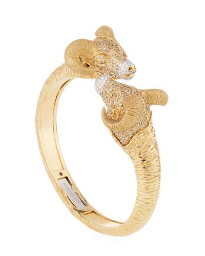 18k Gold Diamond Pave Ram Bangle Bracelet