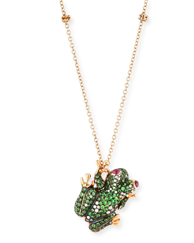18K Pave Frog Pendant Necklace