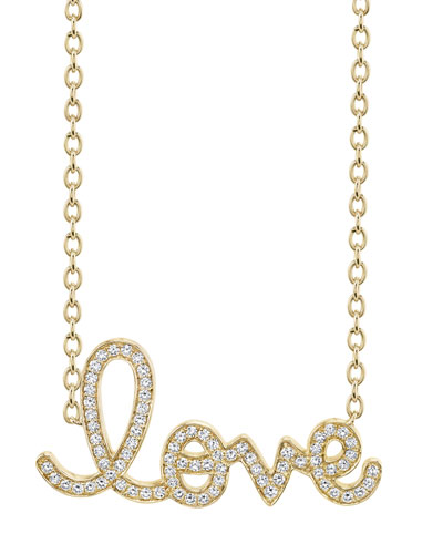 XL Diamond Love Necklace in 14K Yellow Gold