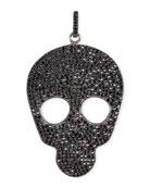 Large Pavé Black Spinel Skull Charm Pendant