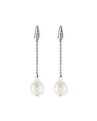 Pearl & Sapphire Drop Earrings