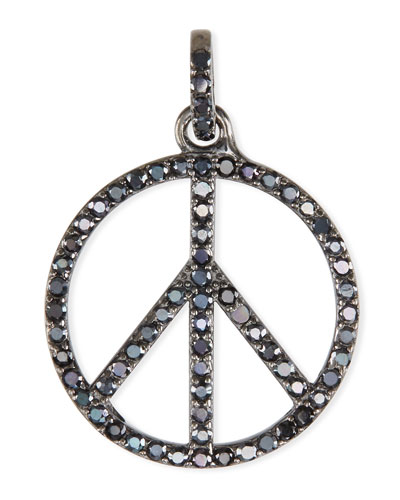 Black Spinel Peace Sign Charm Pendant