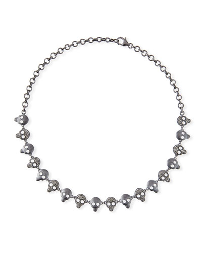 Diamond & Crystal Skull Chain Necklace
