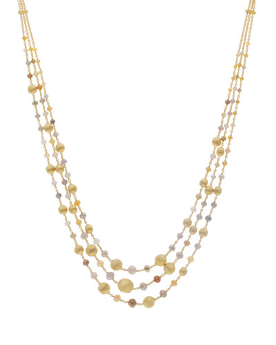 Africa Unico 18k Gold Raw Diamond 3-Strand Necklace