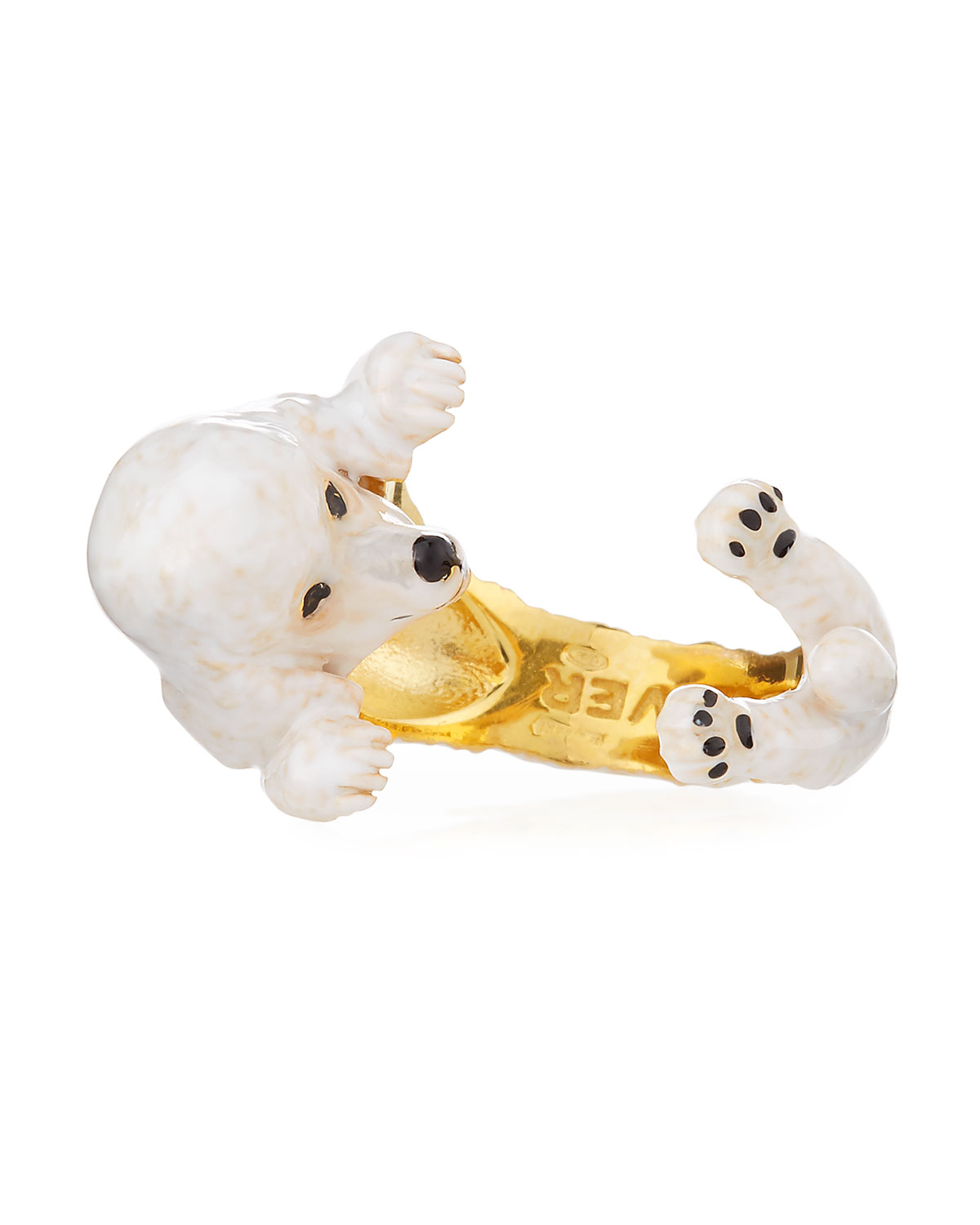 VISCONTI & DU REAU POODLE PLATED ENAMEL DOG HUG RING, SIZE 7