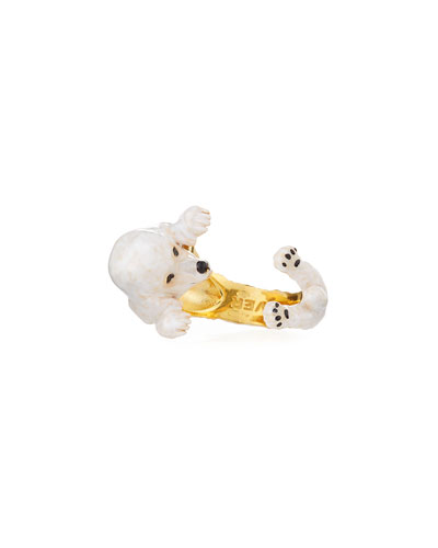 Poodle Plated Enamel Dog Hug Ring, Size 8