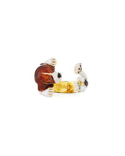 Beagle Plated Enamel Dog Hug Ring, Size 8