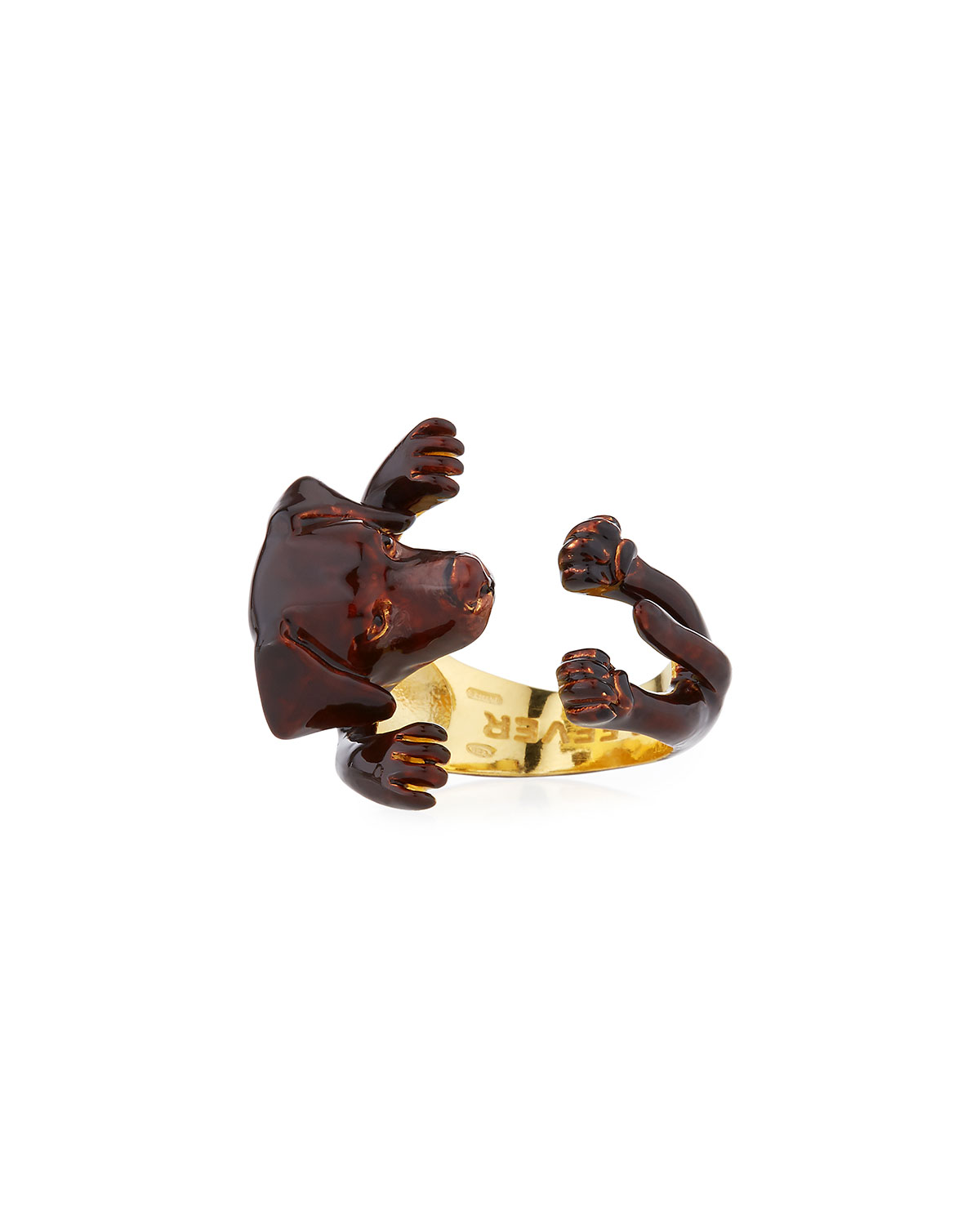 VISCONTI & DU REAU CHOCOLATE LAB PLATED ENAMEL DOG HUG RING, SIZE 7