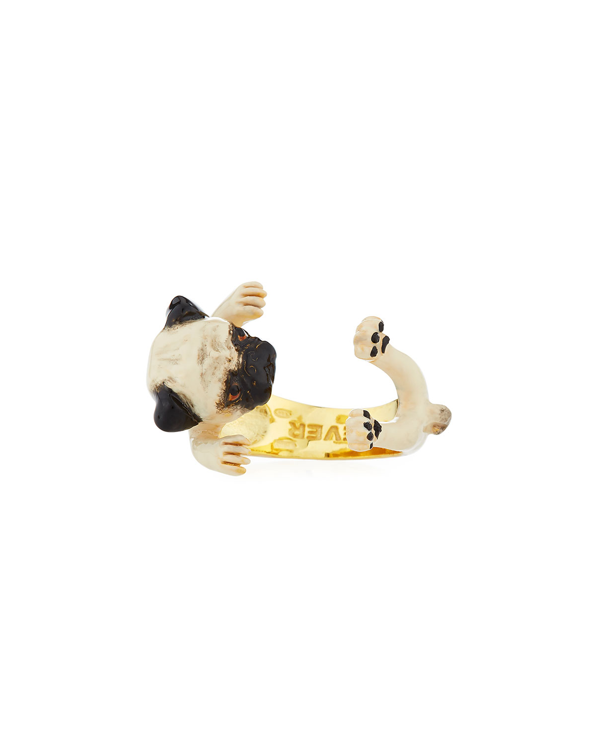 VISCONTI & DU REAU PUG PLATED ENAMEL DOG HUG RING, SIZE 7