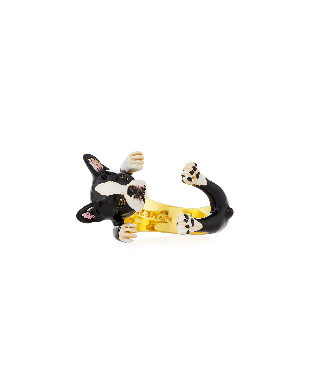 VISCONTI & DU REAU BOSTON TERRIER PLATED ENAMEL DOG HUG RING, SIZE 7