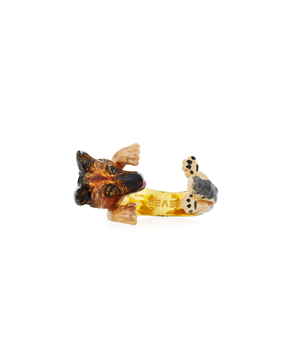 VISCONTI & DU REAU GERMAN SHEPHERD PLATED ENAMEL DOG HUG RING, SIZE 7
