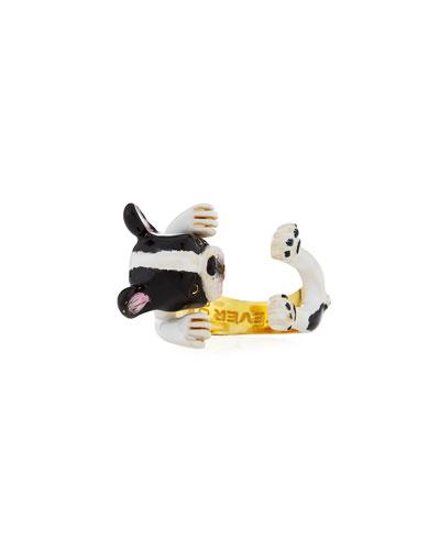 Frenchie Plated Enamel Dog Hug Ring, Size 7