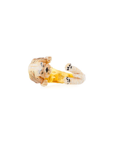 Shih Tzu Plated Enamel Dog Hug Ring, Size 7