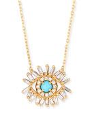 18k Evil Eye Diamond & Turquoise Necklace
