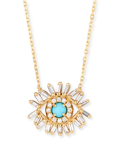18k Evil Eye Diamond & Turquoise Necklace
