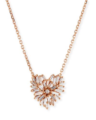 18k Mini Diamond Heart Pendant Necklace