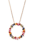 18 Zigzag Rainbow Sapphire & Diamond Circle Pendant Necklace