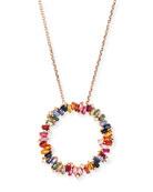 18 Zigzag Rainbow Sapphire & Diamond Circle Pendant Necklace