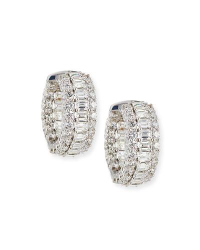 18k Mixed-Cut Diamond Hoop Earrings
