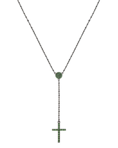 14k Black Gold Tsavorite Crossary Necklace