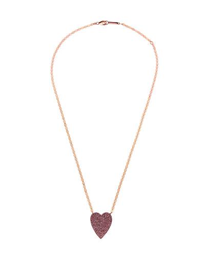 14k Large Pavé Pink Sapphire Heart Pendant Necklace