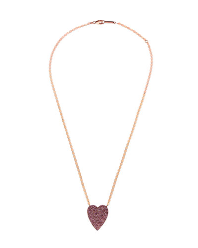 14k Large Pave Pink Sapphire Heart Pendant Necklace