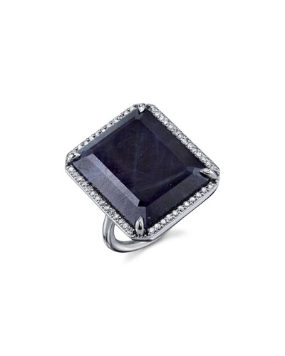 Emerald-Cut Sapphire Ring in Diamond Setting, Size 8.5
