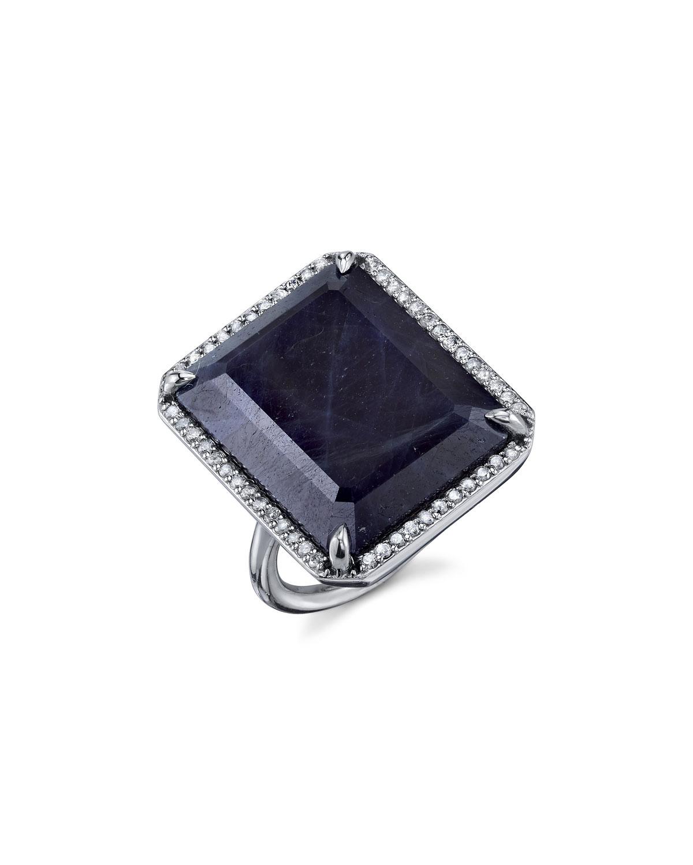 EMERALD-CUT SAPPHIRE RING IN DIAMOND SETTING, SIZE 8.5