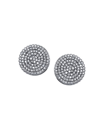 18mm Pave Diamond Disc Stud Earrings