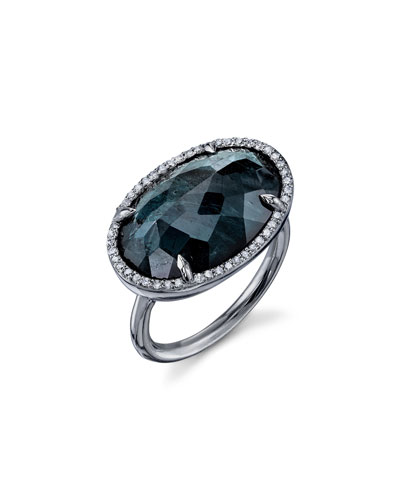 Green Tourmaline East-West Oval Ring with Diamonds, Size 8
