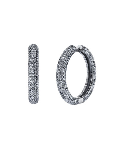 Thick Diamond Pave Hoop Earrings