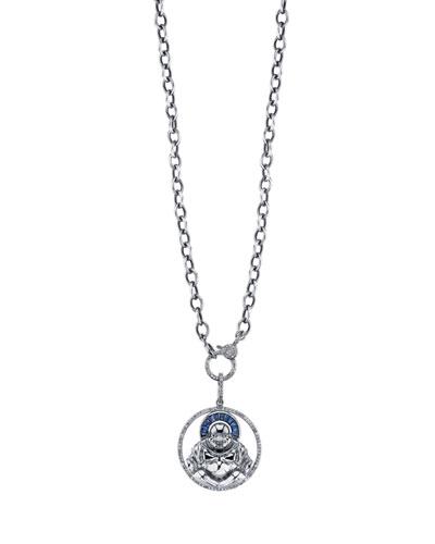 Sapphire Halo Buddha Pendant Necklace, 41