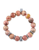 12mm Rhodochrosite Bead Bracelet with 5 Diamond Rondelles