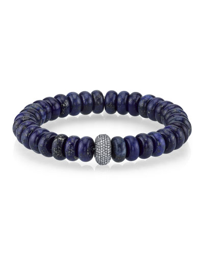 10mm Lapis Rondelle Bead Bracelet with Diamond Donut