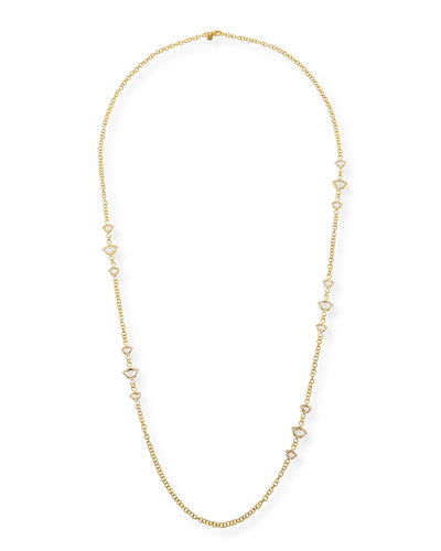 Nalika Lotus Station Necklace with White Topaz & Diamonds, 36