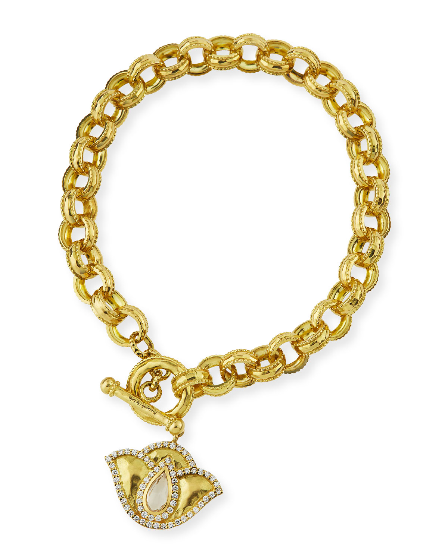 LEGEND AMRAPALI 18K GOLD LOTUS LINK BRACELET WITH DIAMONDS