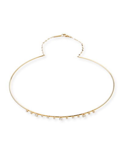 Solo 14k Half Scattered Diamond Choker Necklace