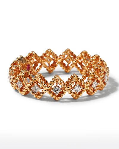 Barocco Single-Row Diamond Ring in 18K Rose Gold, Size 6.5